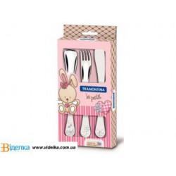 Набор столовых приборов 3пр TRAMONTINA BABY Le Petit pink 66973/005