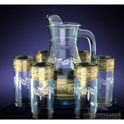 Набор для напитка 7пр  декор с рисунком Диамантовый узор GE09-3944/402 Гусь хрустальный