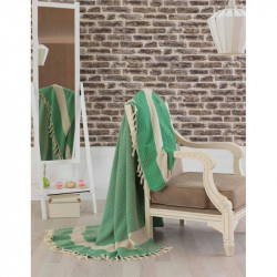 Покрывало хлопковое Eponj Home - Hasir A.Yesil светло зеленое