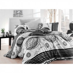 Постельное белье евро Eponj Home - Blacky Siyah ранфорс