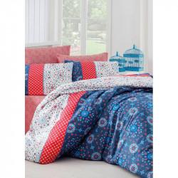 Постельное белье евро Eponj Home - Spoty Royal mavi ранфорс