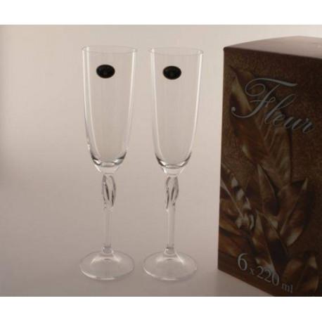 Бокалы для шампанского Bohemia Fleur 220мл -6 шт