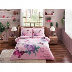 Постельное белье евро Tac ранфорс - Nina V03 розовое