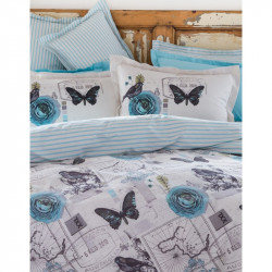 Постельное белье евро Karaca Home ранфорс - Birdy голубое