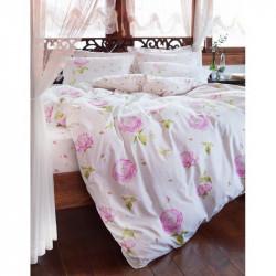 Постельное белье евро Karaca Home ранфорс - Cresta розовое