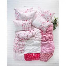 Постельное белье евро Karaca Home ранфорс - Lienzo розовое пано
