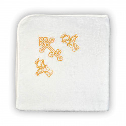 """Полотенце махровое крестильное """"Крыжма"""" Home Line 90х90 Белое с золотом"""