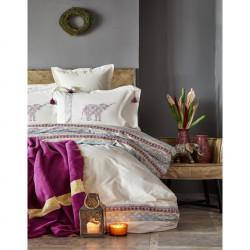 Набор постельное белье с пледом Karaca Home евро - Espilo 2018-1 бордо