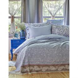 Набор постельное белье с пледом Karaca Home евро - Talin 2018-1 синий