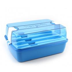 Набор для обеда контейнер +столовые приборы Herevin Maxx Blue 161275-009