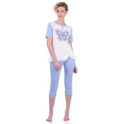 Комплект одежды Miss First Butterfly голубой L(футболка+капри)