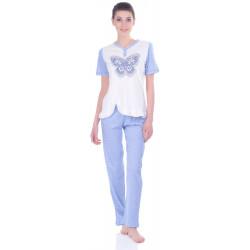 Комплект одежды Miss First Butterfly голубой S(футболка+штаны)