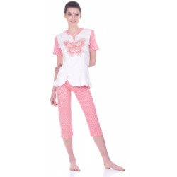 Комплект одежды Miss First Butterfly розовый M(футболка+капри)