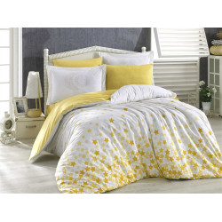 Комплект постельного белья полуторный Hobby Poplin - Stars желтый