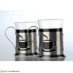 Набор из двух стеклянных чашек в метал. подставках BergHOFF 2800157 Cook&Co