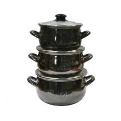 Набор кастрюль эмалированных 3 предмета Bon appetit черний Interos 2234 А