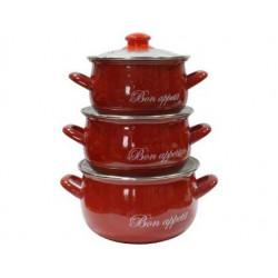 Набор кастрюль эмалированных 3пр Bon appetit красный Interos 2234 C