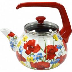 Чайник эмалированный с бакелитовой ручкой 2,2 л Маковое поле Interos 15023