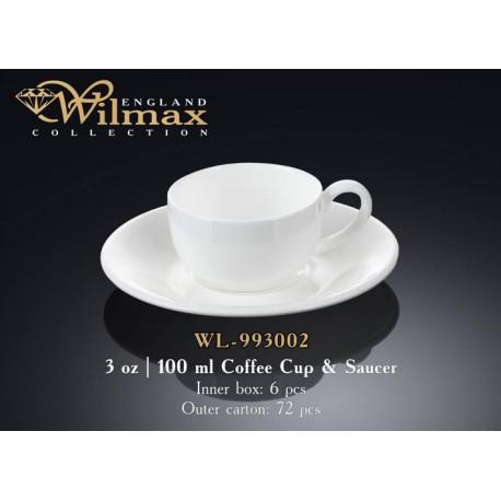 Чашка кофейная и блюдце 100мл Wilmax  WL-993002