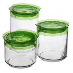 Набор банок для сыпучих (0,5л,0,75л,1л)-3пр Luminarс Storing Box Green L1100