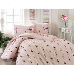Постельное белье евро Eponj Home - Flamingo Pudra ранфорс