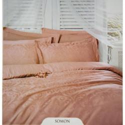 Постельное белье евро Deco Bianca сатин жаккард jk16-03 somon лососевое