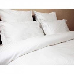 Постельное белье евро Lotus Отель - Сатин Страйп белый 1*1 (Турция)
