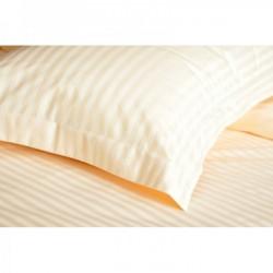 Постельное белье евро Lotus Отель - Сатин Страйп ваниль 1*1 (Турция)