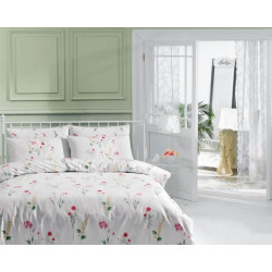 Постельное белье евро Tac ранфорс - Kaylee V01 розовое