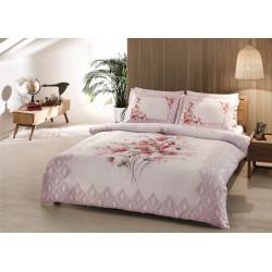 Постельное белье семейное Tac сатин Delux - Carol розовый сатин