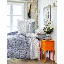 Постельное белье евро Karaca Home сатин - Della 2017-2 blue голубое