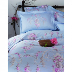 Постельное белье евро Karaca Home сатин - Lady голубое