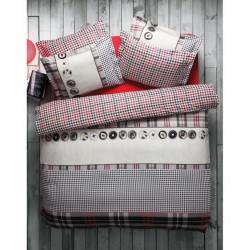 Постельное белье евро Karaca Home ранфорс - Ditsy красное