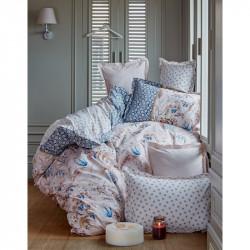 Постельное белье евро Karaca Home ранфорс - Mitha 2016 mavi голубое