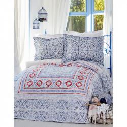 Постельное белье евро Karaca Home ранфорс - Savior 2017-2 blue
