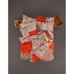 Постельное белье полуторное Karaca Home ранфорс - Vera оранжевое пано