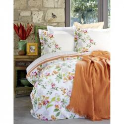 Набор постельное белье с покрывалом пике Karaca Home евро - Paradise 2017-2 orange jacquard