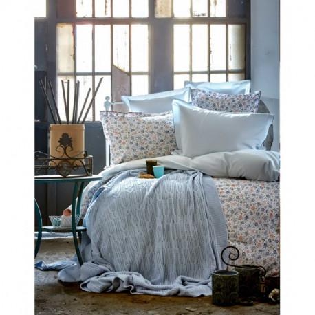 Набор постельное белье с пледом Karaca Home евро - Freya 2017-1 blue