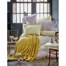 Набор постельное белье с пледом Karaca Home евро - Freya 2017-1 green