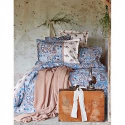 Набор постельное белье с пледом Karaca Home евро - Mandila 2017-1 blue