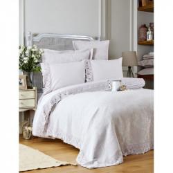 Набор постельное белье с покрывалом + пике Karaca Home евро - Liza 2017-2 lila