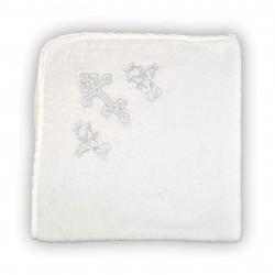 """Полотенце махровое крестильное """"Крыжма"""" Home Line 90х90 Белое с серебром"""