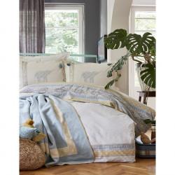 Набор постельное белье с пледом Karaca Home евро - Espilo 2018-1 синий
