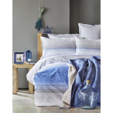 Набор постельное белье с пледом Karaca Home евро - Lapis 2018-1 Indigo
