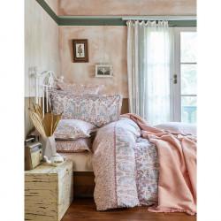 Набор постельное белье с пледом Karaca Home евро - Luminda 2018-1 корраловый