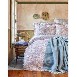 Набор постельное белье с пледом Karaca Home евро - Luminda 2018-1 розовый