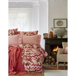 Набор постельное белье с пледом Karaca Home евро - Melange 2018-1 оранжевый