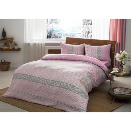 Постельное белье евро Tac Flanel - Betsy розовый