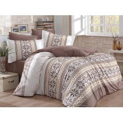 Комплект постельного белья полуторный Hobby Poplin - Carla коричневый