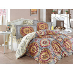Комплект постельного белья евро Hobby Poplin - Diamante бордовый